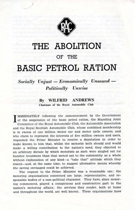 Petrol Ration Abolition - front