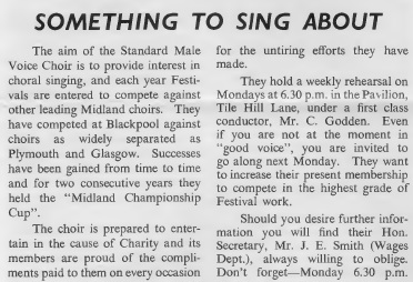 Male voice choir Standard News issue 1 1958 page 4