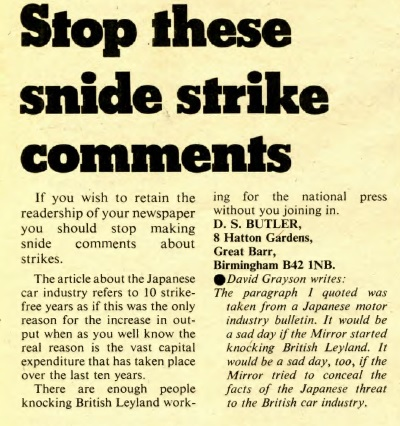 Snide strike comments letter and reply Leyland Mirror issue 3 1973 page 21