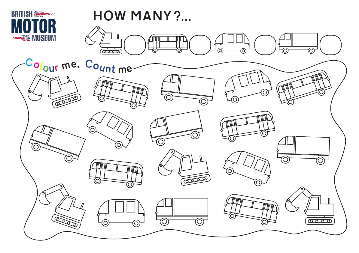 Count and Colour Activity Sheet - Buses