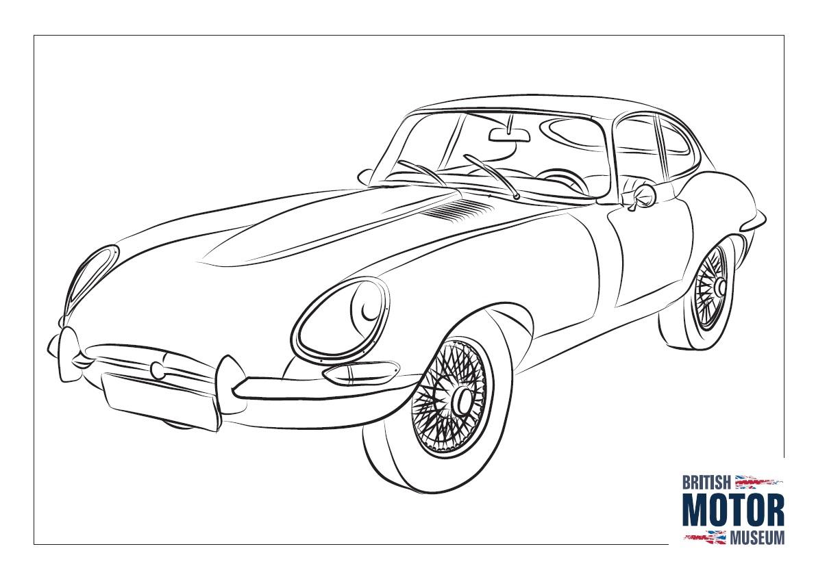 Jaguar E Type Colouring Sheet