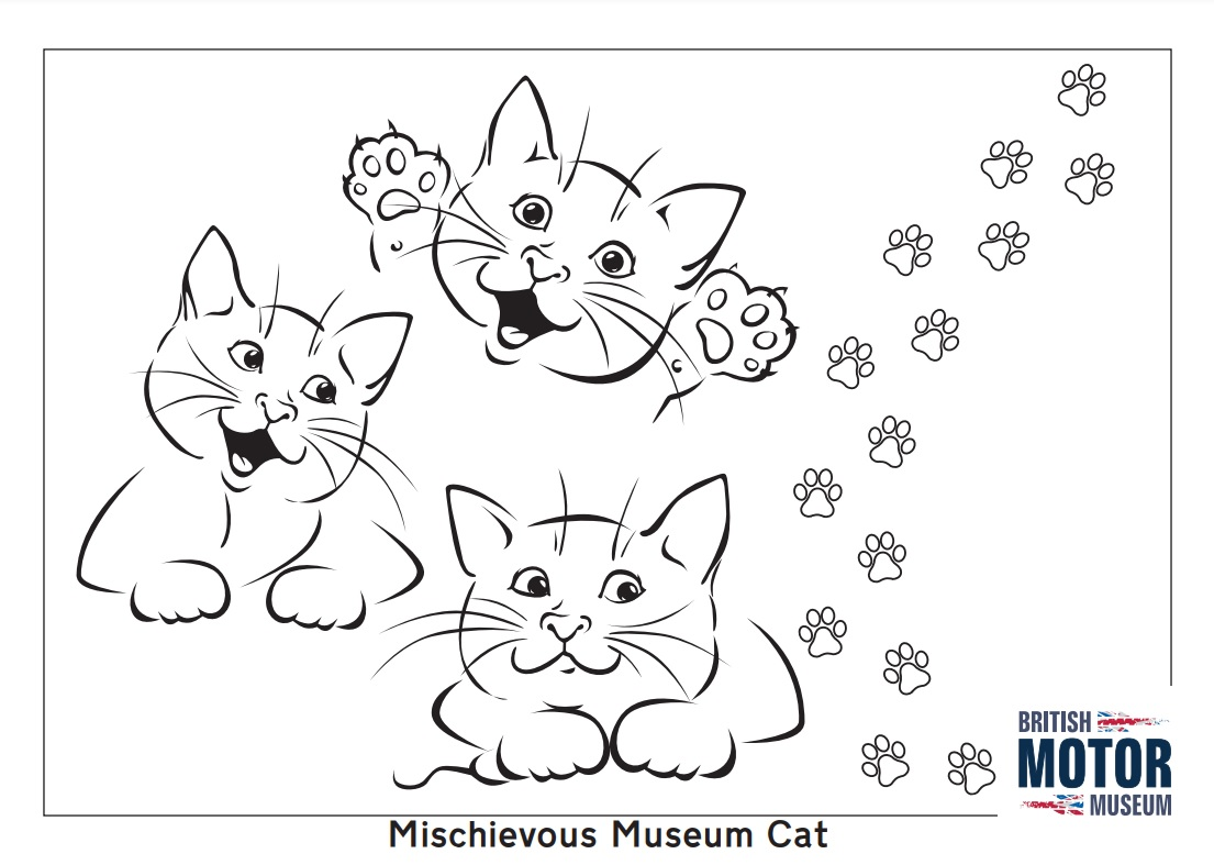 Museum Cats Colouring Sheet